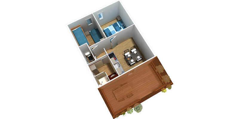 Hébergement classique 2 chambres 5 personnes