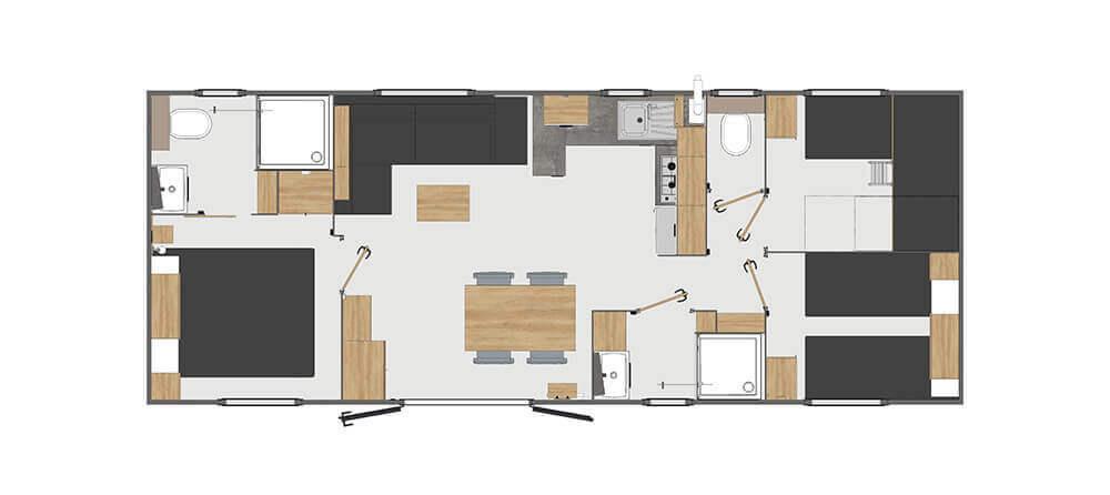 Plan - Confort 3 chambres 6 personnes
