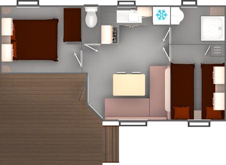 Hébergement classique 2 chambres 4 personnes